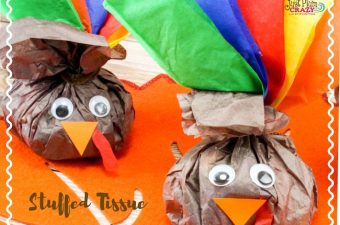These Stuffed Tissue Paper Turkey craft can also be filled with small pieces of paper with things you and/or the kids are thankful for.