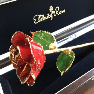 Now you can give a 24 Gold Trimmed Eternity Rose to a loved one! It is a real rose that is preserved with a glaze and dipped in gold.
