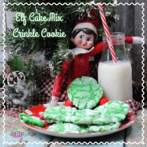 We are almost finished with our Elf on the Shelf recipes with our Elf Cake Mix Crinkle Cookie recipe. We will be having one more recipe coming up.