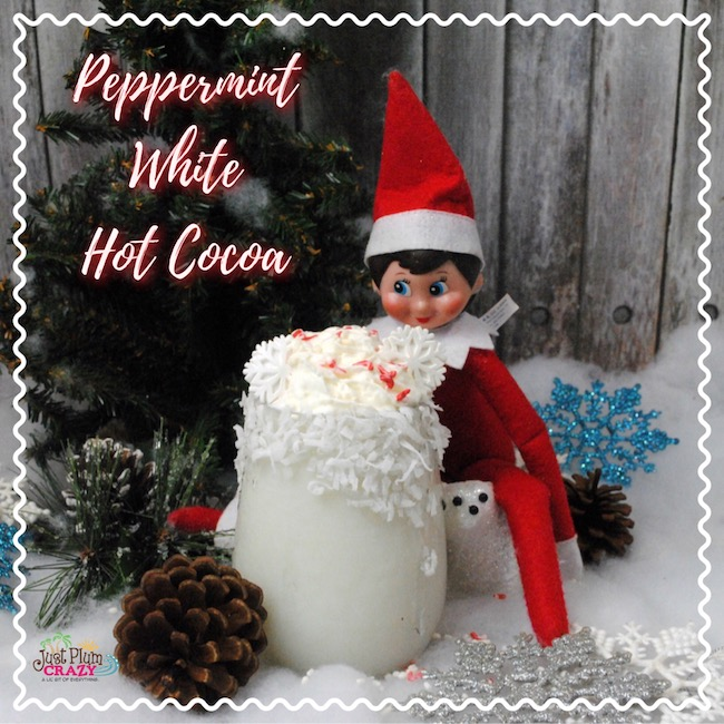 We just shared a couple of adult beverages to get through the month and now we are sharing an Elf on the Shelf Peppermint White Hot Cocoa recipe.