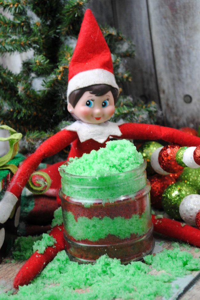 Lets do something a little different than drinks. How about an Elf on the Shelf Sugar Scrub DIY! It's easy to do and makes a great gift.