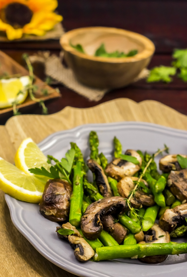 The Gluten Free Skillet Mushroom and Asparagus with Lemon and Thyme is gluten free and Whole 30 approved. Skip the butter and increase the olive oil to 2 tablespoon and it comes Paleo approved and Vegan as well.