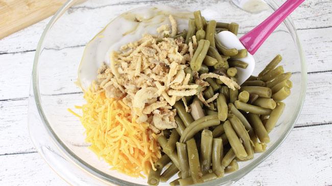 Mixing Green Bean Casserole
