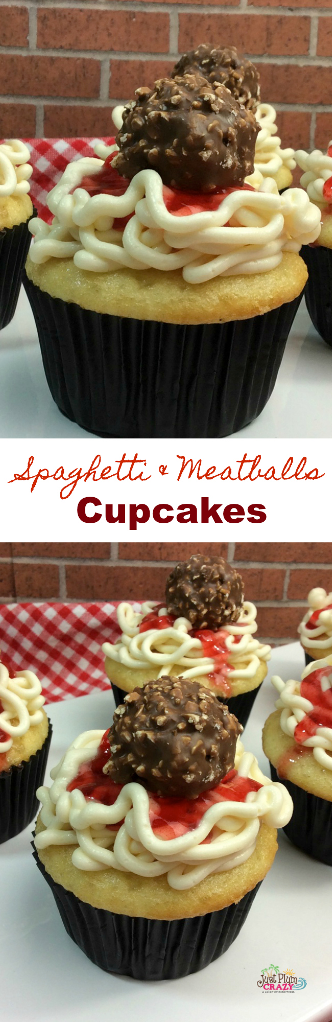 Finishing off National Spaghetti Day with a cupcake! Here we have a twist on spaghetti and meatballs with a Spaghetti and Meatball Cupcake recipe. WHAT? Yeah, that's different alright!