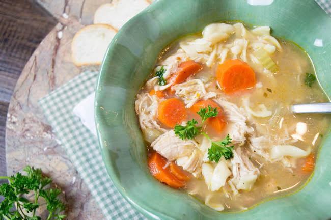 Chicken noodle soup using rotisserie chicken