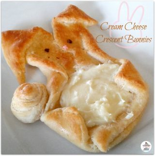 It's super easy to make the Bunny danish with 2 cans of Pillsbury crescent dinner rolls and cream cheese!