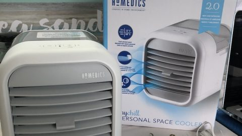 HoMedicsMyChill Personal Space Cooler features 2 speeds, an adjustable vent, and Clean Tank Technology to keep it mold- and mildew-free.