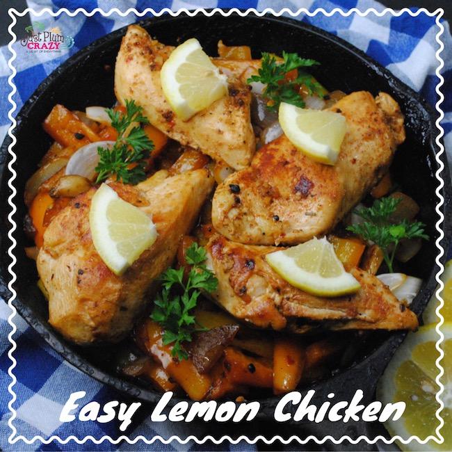 Lemon Chicken with Vegetables in a Skillet
