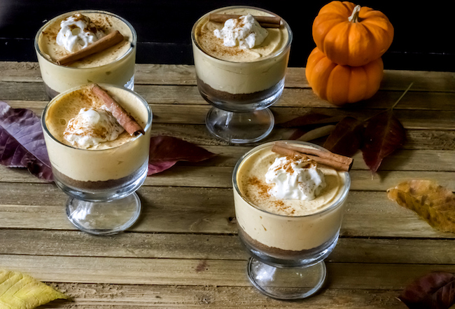 The No Bake Pumpkin Pie Cheesecake Mousse in their dessert cups.