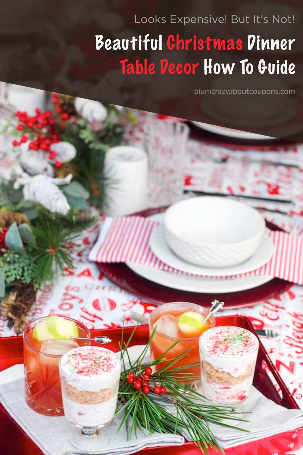 Christmas table decor in red and white