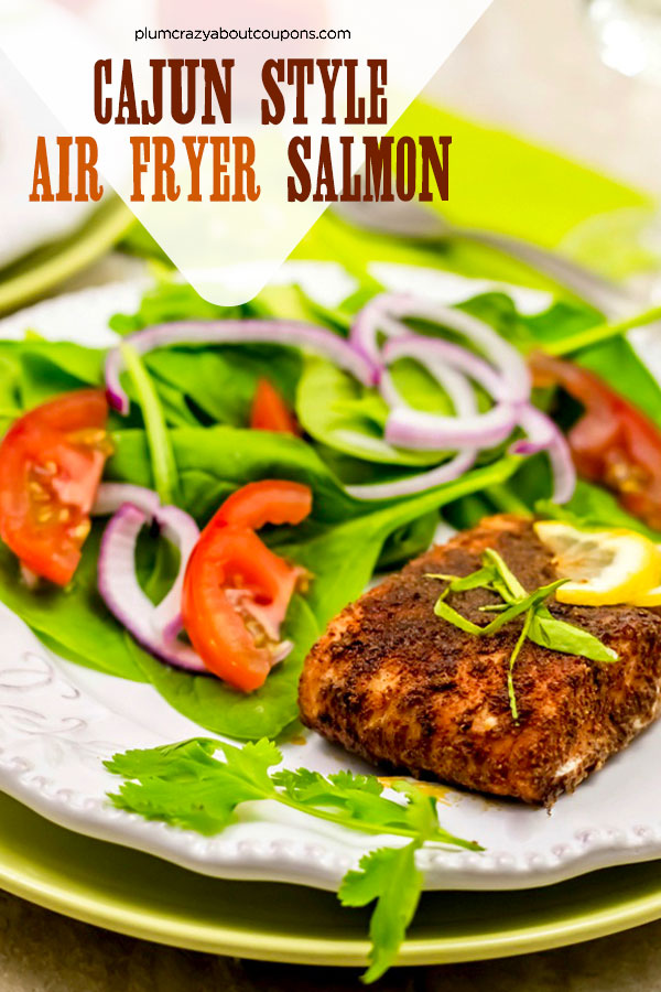 Dinner in under 10 minutes with this cajun flavored air fryer salmon recipe.
