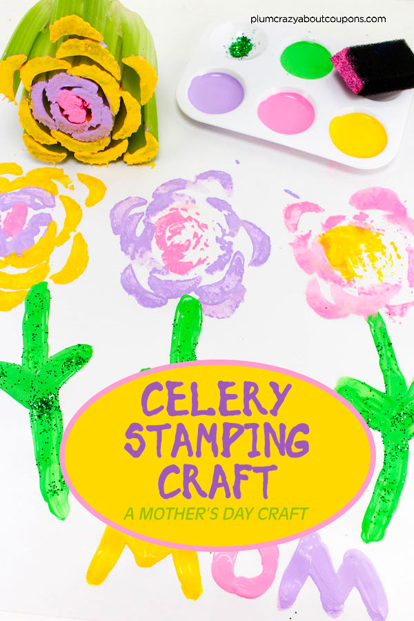 A fun and easy floral stamping craft using celery. Perfect for Mother's Day.
