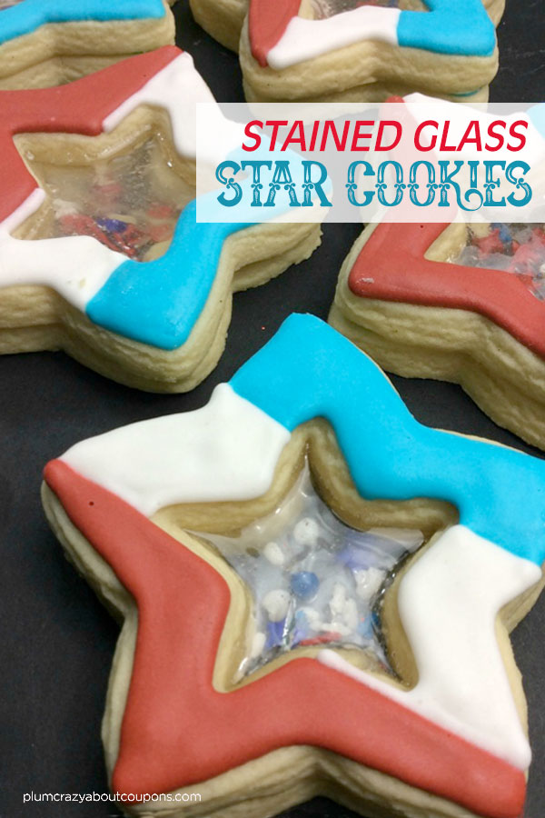 Red, white and blue star shaped stained glass cookies for 4th of July.