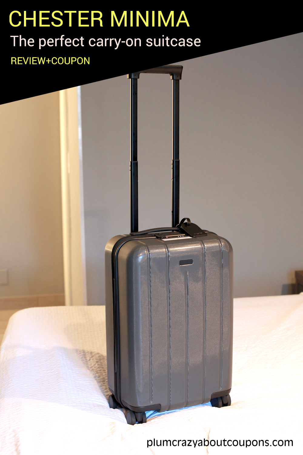 Chester Minima carry-on suitcase.