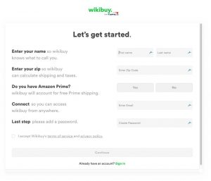 Wikibuy Create Account Page