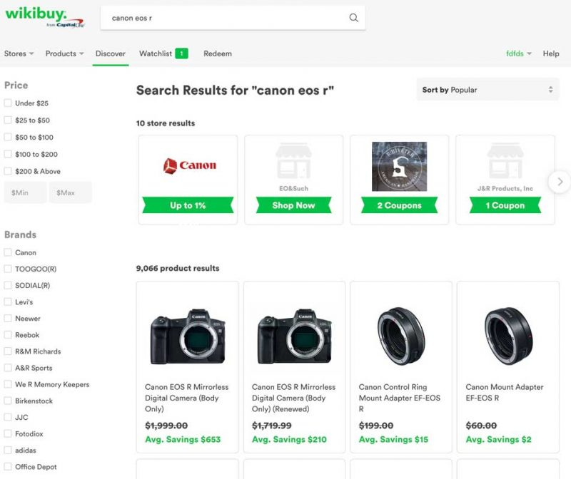 Wikibuy search results page